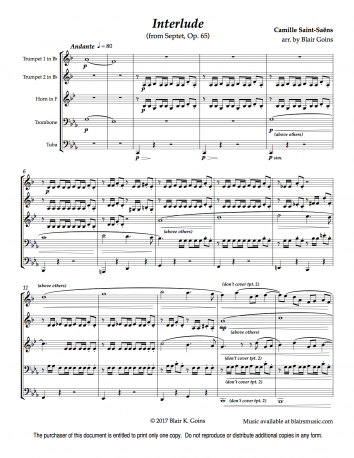 Interlude, Op. 65 by C. Saint-Saëns (download)