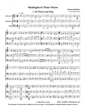 6 Madrigals to 3 Voices by Thomas Weelkes